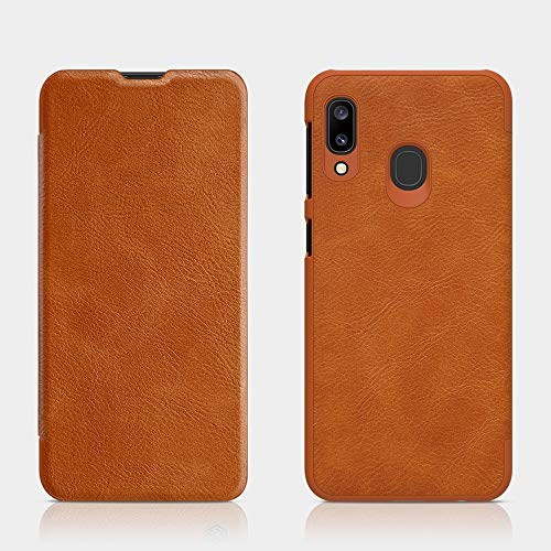Flip-Over Leather Case, Non-Slip, Dirt-Resistant Body Wrap Compatible with Samsung Galaxy A20e,Brown (Faceplates Brown Samsung)