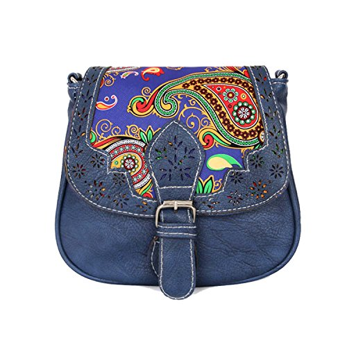 Black Friday Deals Cyber Monday Deals Week-Handicrafts Leopard Women's Saddle Bag Vintage Style Genuine Leather Cross Body Shoulder Bag Handmade Purse Christmas Gifts for Women (Dark Blue)