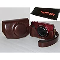 TechCare Ever Ready Protective Leather Camera Case Bag for Canon PowerShot SX720 HS Canon PowerShot SX710 HS Digital Camera (Dark Brown), Canon PowerShot SX710 HS case, Canon SX720 case