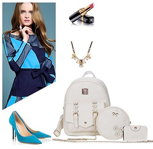 DEERWORD Blanc 3pcs portés ensemble Faux main Femme bandoulière portés dos Sacs Cuir Sacs Sacs rPpwrCOqn