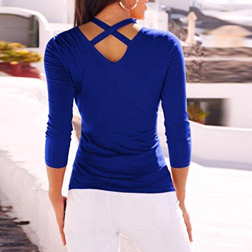 Blouse Manche Femme Tops à Tunique Bandage Longues Haut Haut Chemisier Longue Bleu Shirt Débardeur Blouses Mesdames Blouse Épissure Top T Beikoard Chemise Vest Manches zWnFxdWH