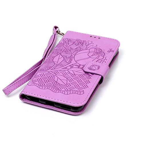Funda para Huawei Y6 II,Carcasas para Huawei Y6 II,Ukayfe Funda PU Piel para Huawei Y6 II,Huawei Y6 II Lujo Caso,Protector Billetera Tapa Estuches Flip Cover Folio Funda Wallet De Cuero para Huawei Y6 Púrpura-flores ricas