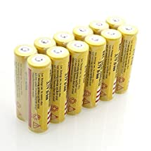 Lcyyo@ 12pcs 18650 5000mAh 3.7V Li-ion Rechargeable Batteries for Led Flashlight Torch Headlamp, Electric Device (Yellow)