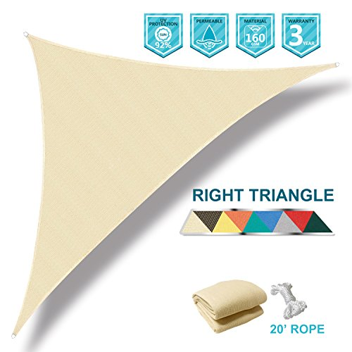 Coarbor 8'x8'x11.3' Right Triangle Beige UV Block Sun Shade Canopy Perfect for Patio Yard Deck Outdoor Garden