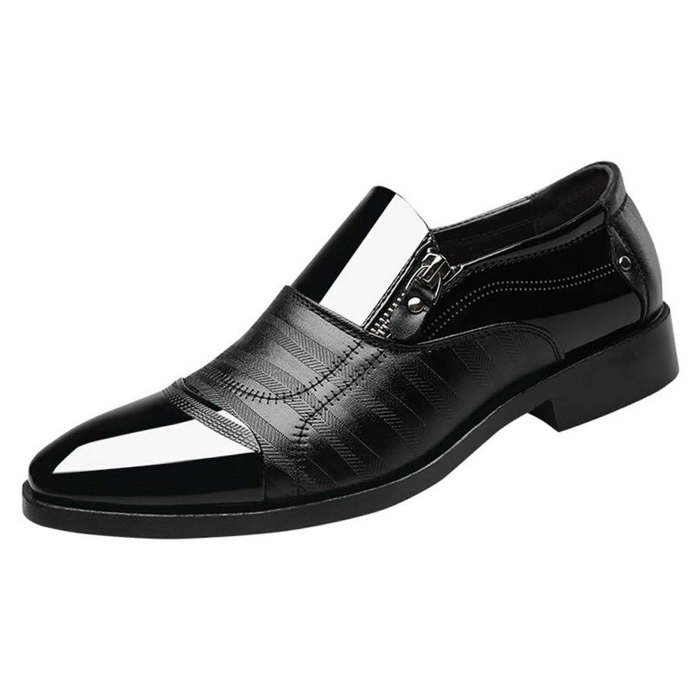 Corriee 2019 Most Wished Mens Dress Shoes Men's Classic Oxford Shoes Pointed Toe Side Zipper Flats Shoe Black