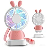 TechCode Mini USB LED Fan, Rabbit Model USB Charging Noiseless Handheld Fan, Portable Electric Cooling Fan with Led Night Light, 2 Speed Adjustable Desk Fan for Travel Outdoor Home Office (Pink)