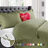 Nestl 2pc Bedding Duvet Cover & Pillow Sham Set, Twin, Sage Green Deal (Small Image)