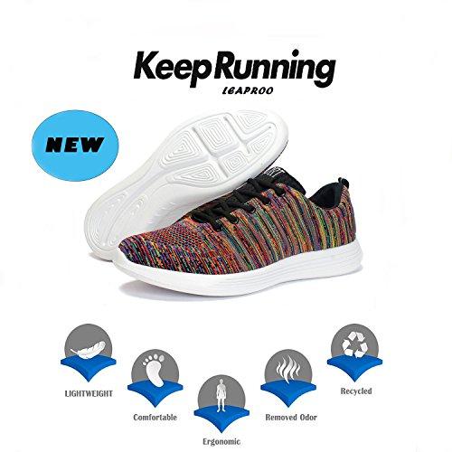 Leaproo Damen / Herren Knit Sneakers Breathable Casual Leichte Athletische Mesh Road-Laufschuhe rot