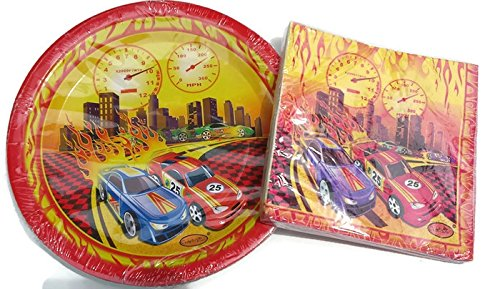 Race Car Fans Celebration Birthday Party Plates (16) And Napkins (16) (Race Car Plates compare prices)