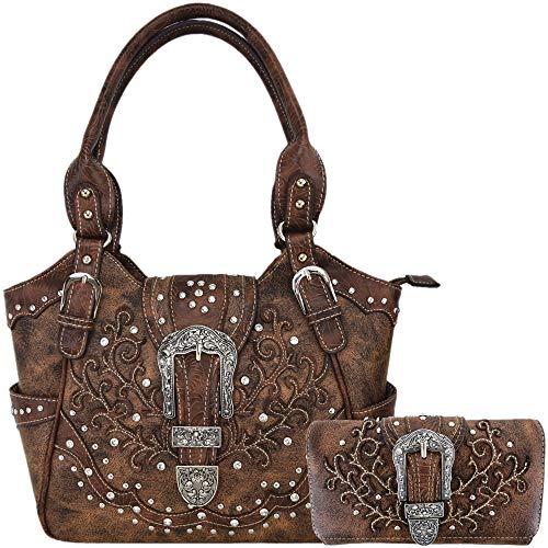 Western Style Rhinestone Concealed Carry Purse Buckle Country Handbag Women Shoulder Bag Wallet Set Brown