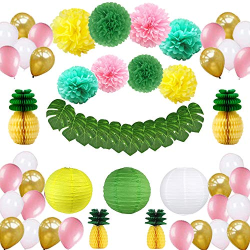 Tropical Hawaiian Party Decorations,57 pcs Party Supplies,Tropical Leaves,Pineapple,Paper Lantern,Balloons and Paper Pom Poms for Birthday,Jungle Beach Pool Theme,Baby & Bridal Shower Decorations ()
