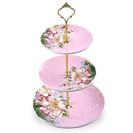 Amazon.com | Modern Ceramic Three Layer Fruit Tray Living Room Cake ...