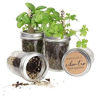 Makerskit Mason Herb Garden Gift Set, Basil/Cilantro/Mint/Parsley