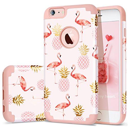 iPhone 6 plus Case,iPhone 6s PLUS Case Pineapple,Fingic 2 in 1 Slim Case Hard PC&Soft Rubber Pineapple&Flamingos Cute Design Case for Girls Protective Cover for iPhone 6/6s PLUS,Pineapple/Pink