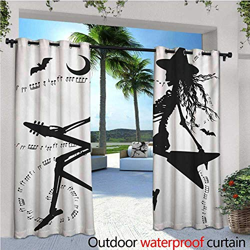 Music Outdoor Blackout Curtains Witch Flying on Electric Guitar Notes Bat Magical Halloween Artistic Illustration Outdoor Privacy Porch Curtains W108 x L84 Black White ()