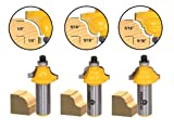 Yonico 13320 5/16-Inch 3 Bit Edge Forming Router Bit Set 1/2-Inch Shank