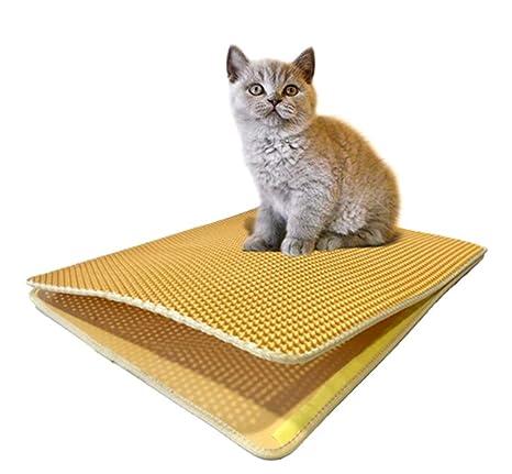 Authda Alfombrilla de arena para gatos doble capa fácil limpieza impermeable suave EVA no tóxica fácil