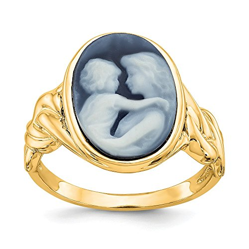 Everlasting Love Cameo Ring - 14K Everlasting Love 10X14mm Agate Cameo Ring