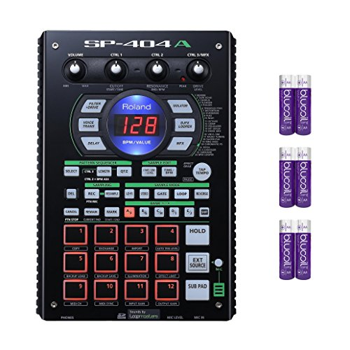 (Roland SP-404A Drum Machine - Linear Wave Sampler with Pattern Sequencer, 12 Performance Pads, 29 Onboard DSP Effects, Built-in Microphone Bundle with 1GB SD Card and Six Blucoil AA Batteries)