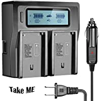 NP-F970 Dual Battery Charger for Sony NP-F550 NP-F750 NP-FM55H NP-FM500H NP-F960 NP-F570 NP-F770 NP-F930 NP-F950 NP-QM71 NP-QM91 NP-QM71D Panasonic VBD JVC V607 Camera with Digital Display