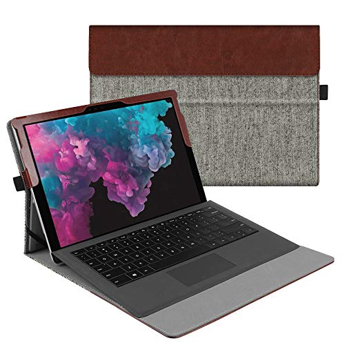Fintie Case for Microsoft Surface Pro 6 / Pro 5 / Pro 4 / Pro 3 - Multiple Angle Viewing Portfolio Business Cover, Compatible with Type Cover Keyboard (Denim Grey)