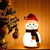 Hisoul Snowman Table Lamp, Cute Pattern Snowman Silicone Night Light Colorful Music Lights Baby Kids Bedroom, (A)