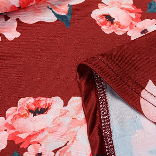 Faldas Largas Mujer Verano Rayas, Zolimx Mujeres de Manga Larga Una Línea de Ropa de Impresión Floral Suelta Vestido de Fiesta Casual Vestido Vine