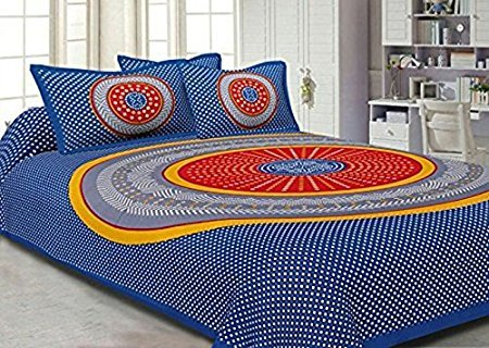 Pure Cotton Luxury King Size Mandala Bed Sheet Set with 2 Pillow Cases,Best Quality For Home, Hotel, Wrinkle, Fade, Stain Resistant, Hypoallergenic (Blue Yellow Red Colors Mandala)