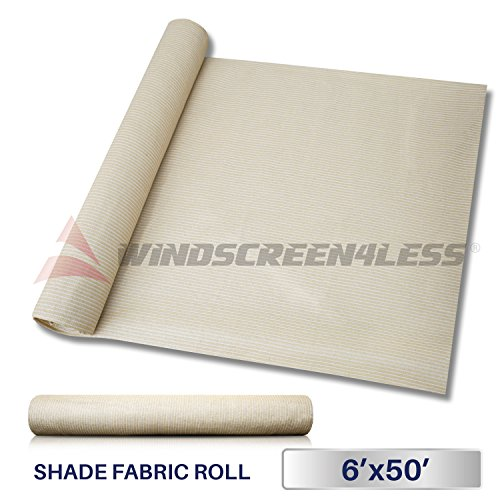 Windscreen4less Beige Sunblock Shade Cloth,95% UV Block Shade Fabric Roll 6ft x 50ft