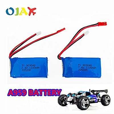 2pcs LiPo RC Drone Battery 7.4V 1100mah Battery for Wltoys A949 A959 A969 A979 K929 RC Helicopter Airplane Car Boat Replacement