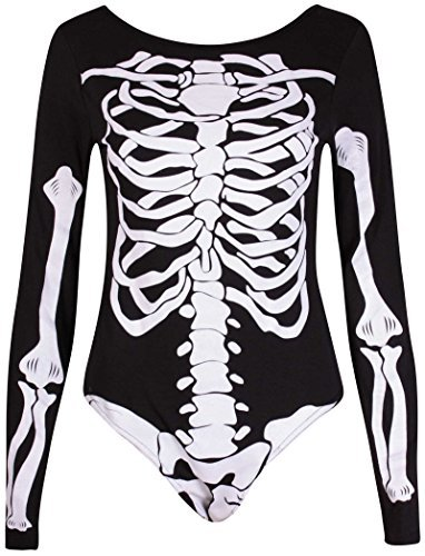 PurpleHanger Women's Haloween Skeleton Printed Leotard Bodysuit Top Black (Halloween Bodysuit)