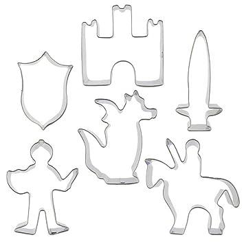 SSWSS - Molde para galletas de 6 dibujos animados con figuras de guerrero, caballero,