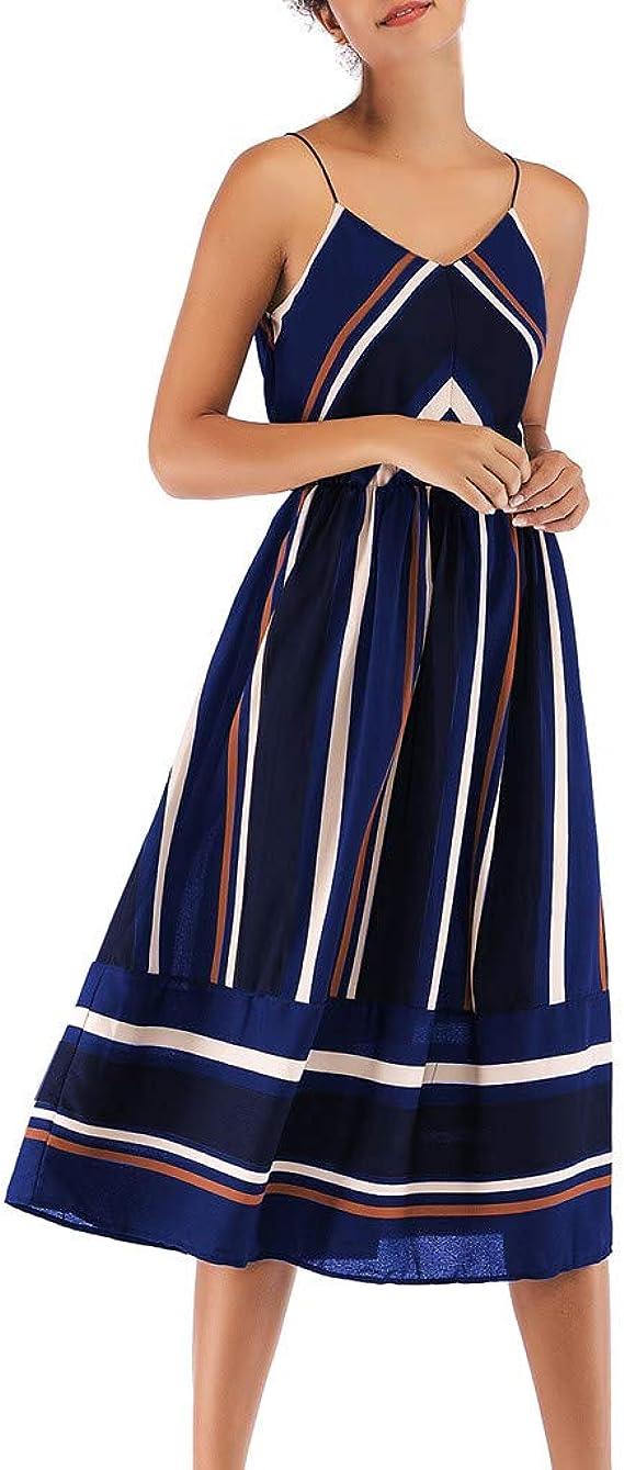 DressLksnf Vestido Gasa para Mujer Verano de Rayas de Empalme ...