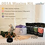 Facial Hair Removal Tips At Home - Waxkiss Wax Warmer Kit - Body Hair Removal Brazilian Wax Kit Effective Painless Treatment Bikini Upper Lip Armpit Home Waxing Kit 14oz 1 Wax Warmer 4 Bags Wax Beans 10 Wooden Sticks