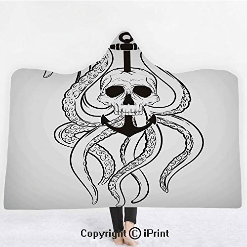 "Nautical Decor 3D Print Soft Hooded Blanket Boys Girls Premium Throw Blanket,Skull Octopus and Anchor Pirate Ocean Classic Tattoo Style Artwork Illustration Decorative,Lightweight Microfiber(Kids 50""x"