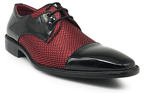 Leon Men's Colonial Spectator Two Tone Cap Toe Oxfords Lace Up Dress Shoes (12, Red) -