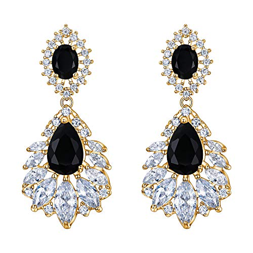 BriLove Wedding Bridal Cubic Zirconia Earrings for Women Peacock Feather Shaped Chandelier Dangle Earrings Black Gold-Toned