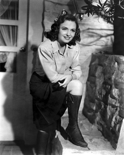 Donna Reed Leaning On Knee in Boots Outside Door Smiling 8x10 Publicity (Boot Reed)
