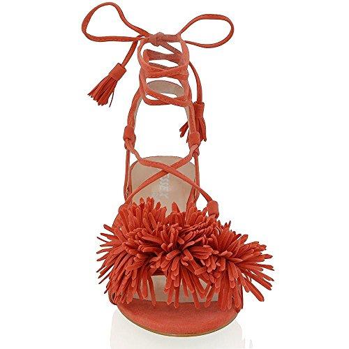 Essex Glam Gamuza Sintética Sandalias con tacón cuadrado bajo y flecos anudados Naranja Gamuza Sintética