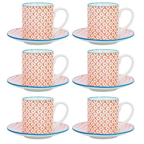 Nicola Spring Patterned Espresso Cup and Saucer Set 65ml - Orange/Blue Print - Box of 6