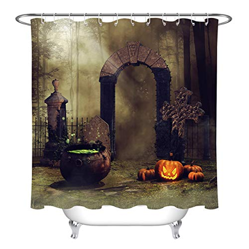 ETOB Halloween Pumpkins Shower Curtain, Witch's Cauldron Cemetery Gate in The Forest Shower Curtains for Bathroom Waterproof Polyester Fabric with 12 Hooks, 72x79 Inch ()