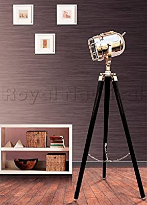 Nautical Vintage Marine Chrome Searchlight Spotlight Lighting Wooden Tripod Floor Lamp Stand Home Decor Stand