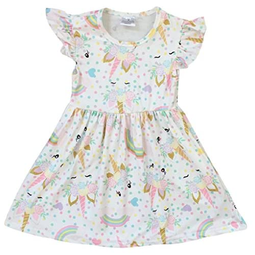 ed8270ac5 Little Girl Dress Kids Unicorn Rainbow Easter Summer Flower Girl Dress 2T-8
