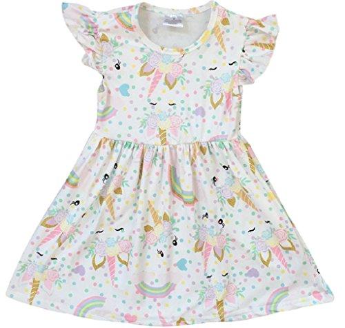 BluNight Collection Little Girl Dress Kids Unicorn Rainbow Easter Summer Flower Girl Dress Off White 2T XS (201249)
