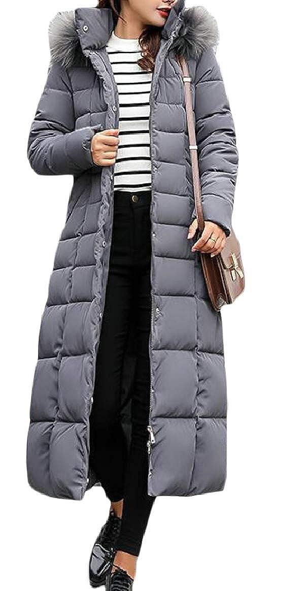 Grey pujinggeCA Women Hoodies FauxFur Collar Warm Long Length Thicken Down Jacket Coat