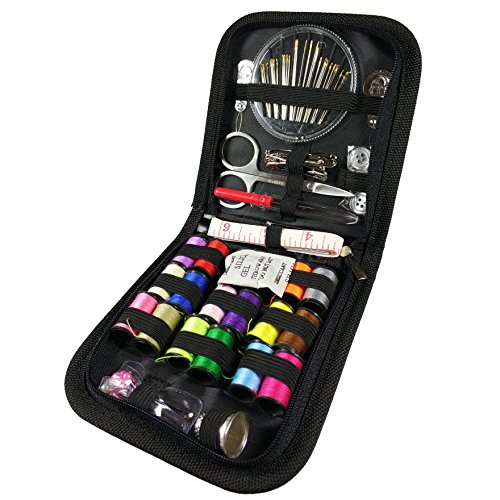 Mini Sewing Kit with Sewing Accessories, 18 Multi Colors Spools of Thread,Portable Household Needlework Box