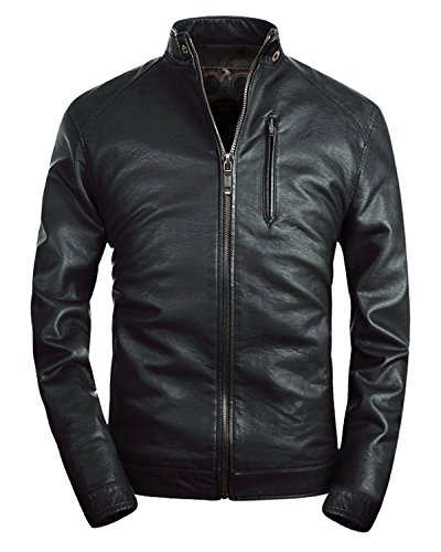 Mens Faux Leather - Fairylinks Mens Stand Collar Faux Leather Jacket Classic Moto Zip up Black, US L
