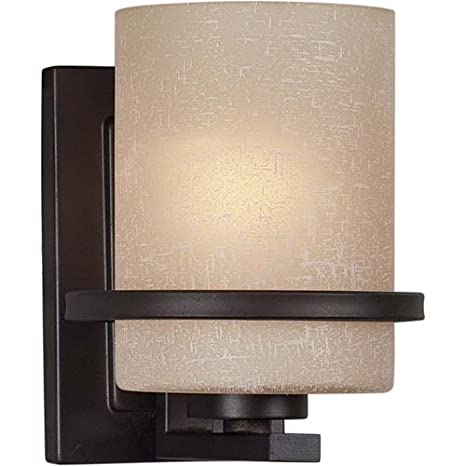 first rate 8b3a3 c6d1a Forte Lighting 2404-01-32 1-Light Transitional Wall Sconce, Antique Bronze  Finish with White Linen Glass Shade