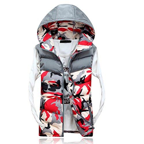 Outerwear Vest Spring Men's Red Autumn Zhuhaitf Hood Capispalla Camouflage Zipper Sleeveless Jacket 5qIw5Ezx