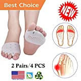 Metatarsal Pads, Toe Separator, Gel Metatarsal Cushion Toe Separators, (4 PCS) New Material Forefoot Pads, Toe Spacers,Breathable & Soft Gel, Best for Diabetic Feet, Blisters, Forefoot Pain. (White)